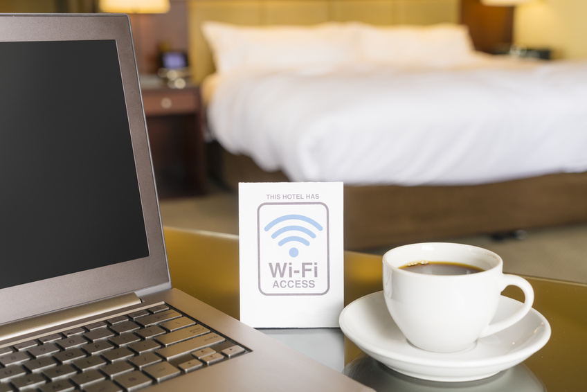 Hotel room with Wi-Fi access sign